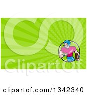 Clipart Of A Cartoon White Male Football Receiver And Bright Green Rays Background Or Business Card Design Royalty Free Illustration