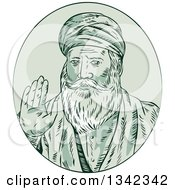 Retro Sketched Sikh Guru Nanak Ji Priest Waving In A Green Oval