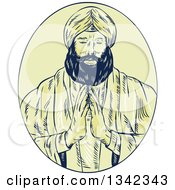 Clipart Of A Retro Sketched Sikh Guru Priest Praying In A Yellow Oval Royalty Free Vector Illustration