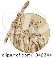 Clipart Of A Retro Sketched Moses Raising His Staff Rod To Part The Red Sea Emerging From A Circle Royalty Free Vector Illustration