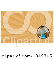 Cartoon Angry Brown Bull Man Mechanic Holding A Wrench In A Circle And Orange Rays Background Or Business Card Design