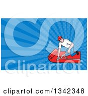 Clipart Of A Cartoon White Male Carpet Layer Worker And Blue Rays Background Or Business Card Design Royalty Free Illustration by patrimonio