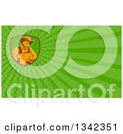 Retro Male Farmer Holding A Piglet In A Shield And Green Rays Background Or Business Card Design