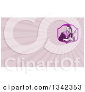 Retro Male Scotsman Bagpiper In A Shield And Pastel Purple Rays Background Or Business Card Design
