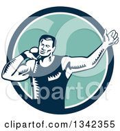 Clipart Of A Retro Woodcut Male Shot Put Athlete Throwing In A Blue White And Turquoise Circle Royalty Free Vector Illustration