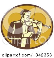 Retro Woodcut Male Violinist Playing A Fiddle In A Brown And Yellow Oval