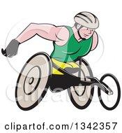 Cartoon Athlete Wheelchair Racer In Action