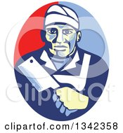 Clipart Of A Retro Male Butcher Holding A Meat Cleaver In A Red And Blue Oval Royalty Free Vector Illustration by patrimonio