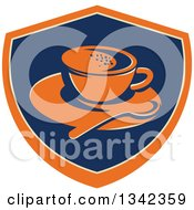 Clipart Of A Retro Coffee Cup Spoon And Saucer In An Orange Blue And Tan Shield Royalty Free Vector Illustration