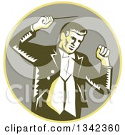 Clipart Of A Retro Woodcut Male Music Conductor Holding A Baton In A Yellow And Taupe Circle Royalty Free Vector Illustration