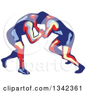 Clipart Of Retro Freestyle Wrestlers In Action Royalty Free Vector Illustration