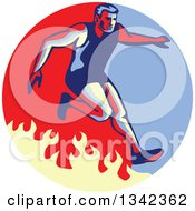 Clipart Of A Retro Man Jumping Over A Fire In An Obstacle Race Inside A Blue Red And Tan Circle Royalty Free Vector Illustration