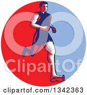 Clipart Of A Retro Male Barefoot Runner In A Red Circle Royalty Free Vector Illustration
