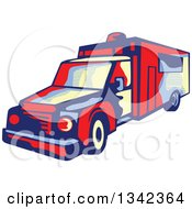 Clipart Of A Retro Ambulance Emergency Vehicle Royalty Free Vector Illustration by patrimonio