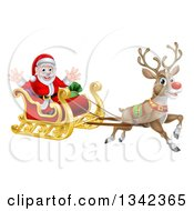 Clipart Of A Red Nosed Reindeer Rudolph Flying Santa In A Sleigh Royalty Free Vector Illustration by AtStockIllustration