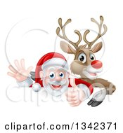 Clipart Of A Cartoon Christmas Red Nosed Reindeer And Santa Giving A Thumb Up And Waving Above A Sign Royalty Free Vector Illustration by AtStockIllustration