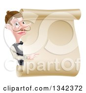 Cartoon Caucasian Male Waiter With A Curling Mustache Pointing Around A Blank Scroll Sign