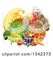 Clipart Of A Chef Turkey Bird Giving A Thumb Up Over A Pumpkin And Harvest Cornucopia 2 Royalty Free Vector Illustration by AtStockIllustration