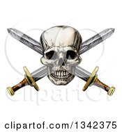 Clipart Of An Engraved Pirate Skull Over Crossed Swords Royalty Free Vector Illustration by AtStockIllustration