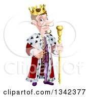 Clipart Of A Happy Brunette White King Giving A Thumb Up And Holding A Staff 2 Royalty Free Vector Illustration by AtStockIllustration