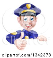 Clipart Of A Cartoon Happy Caucasian Male Police Officer Giving A Thumb Up Over A Sign Royalty Free Vector Illustration by AtStockIllustration