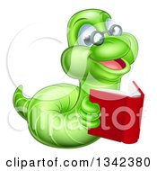 Clipart Of A Bespectacled Green Earthworm Holding A Book Royalty Free Vector Illustration by AtStockIllustration
