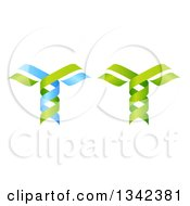 Clipart Of 3d Green And Blue DNA Double Helix Trees 3 Royalty Free Vector Illustration