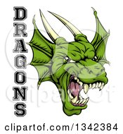 Clipart Of A Roaring Green Horned Dragon Mascot Face With Text Royalty Free Vector Illustration