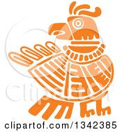 Poster, Art Print Of Orange Mayan Aztec Hieroglyph Art Of An Eagle