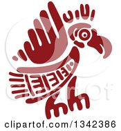 Poster, Art Print Of Red Mayan Aztec Hieroglyph Art Of An Eagle Flying