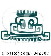 Poster, Art Print Of Teal Mayan Aztec Hieroglyph Art Of A Pyramid Or Face