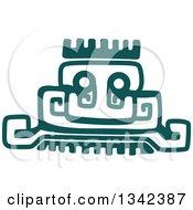 Teal Mayan Aztec Hieroglyph Art Of A Pyramid Or Face