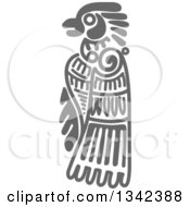 Clipart Of A Gray Mayan Aztec Hieroglyph Art Of An Eagle Royalty Free Vector Illustration