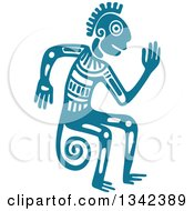 Poster, Art Print Of Teal Mayan Aztec Hieroglyph Art Of A Tribal Man Monkey Or God