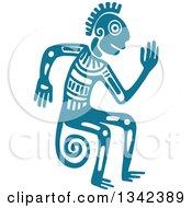 Teal Mayan Aztec Hieroglyph Art Of A Tribal Man Monkey Or God