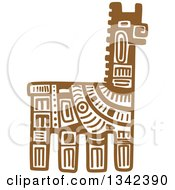 Poster, Art Print Of Brown Mayan Aztec Hieroglyph Art Of A Llama