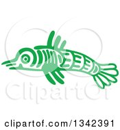Poster, Art Print Of Green Mayan Aztec Hieroglyph Art Of A Fish