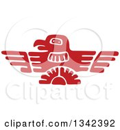 Poster, Art Print Of Red Mayan Aztec Hieroglyph Art Of An Eagle