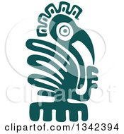 Poster, Art Print Of Teal Mayan Aztec Hieroglyph Art Of An Eagle