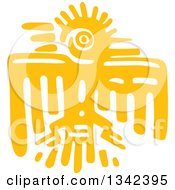 Clipart Of A Yellow Mayan Aztec Hieroglyph Art Of An Eagle Royalty Free Vector Illustration