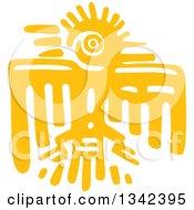 Yellow Mayan Aztec Hieroglyph Art Of An Eagle