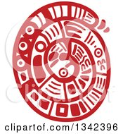 Poster, Art Print Of Red Mayan Aztec Hieroglyph Art Of A Coiled Snake