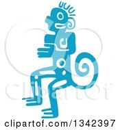 Blue Mayan Aztec Hieroglyph Art Of A Tribal Man Monkey Or God