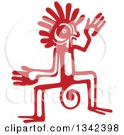Red Mayan Aztec Hieroglyph Art Of A Tribal Man Monkey Or God