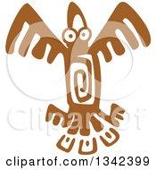 Brown Mayan Aztec Hieroglyph Art Of An Eagle Flying