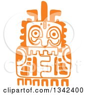 Poster, Art Print Of Orange Mayan Aztec Hieroglyph Art Of A Totem