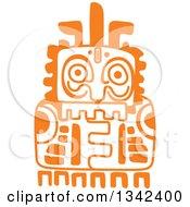 Orange Mayan Aztec Hieroglyph Art Of A Totem