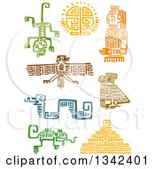 Poster, Art Print Of Mayan Aztec Hieroglyph Art Of Lizards Eagles Sun A God Snake And Pyramid