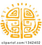 Clipart Of A Yellow Mayan Aztec Hieroglyph Art Of The Sun Royalty Free Vector Illustration