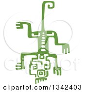 Clipart Of A Green Mayan Aztec Hieroglyph Art Of A Lizard Royalty Free Vector Illustration